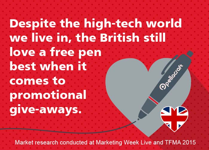 British still love a freebie pen best.