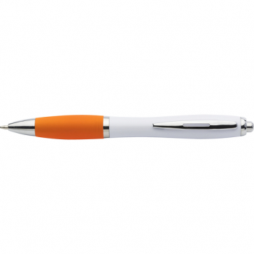 Plastic Ballpen With Coloured Rubber Grip, Blue Ink