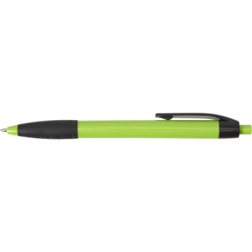 Plastic Ballpen With A Black Clip And Rubber Grip