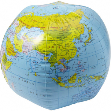 PVC Inflatable Beach Ball With Globe Print