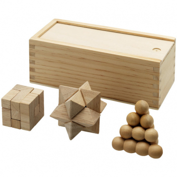 Brainiac 3-Piece Wooden Brainteasers