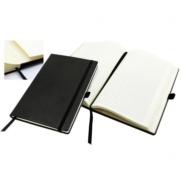 Casebound Notebook with a Black Elastic Strap and Pen Loop