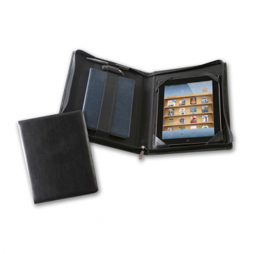 Black Belluno Deluxe Zipped iPad Case with Notebook Holder