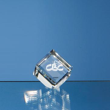 Optical Crystal Bevel Edged Cube