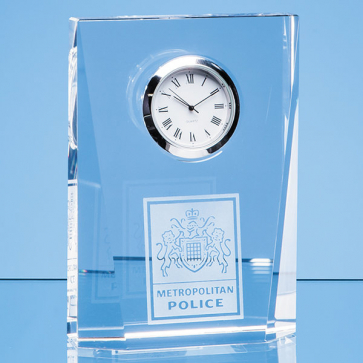 Optical Crystal Bevelled Rectangle Clock