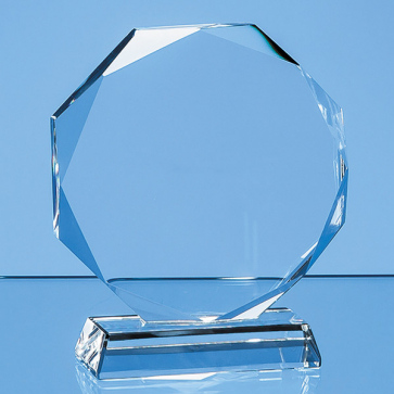 Clear Glass Facetted Octagon Award