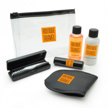 6pc Black Travel Set in a PVC Zippered Bag