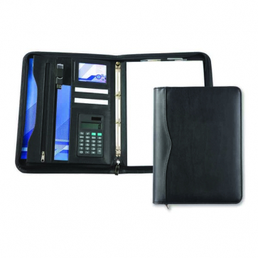 Black Houghton A4 Deluxe Zipped Ring Binder With Calculator