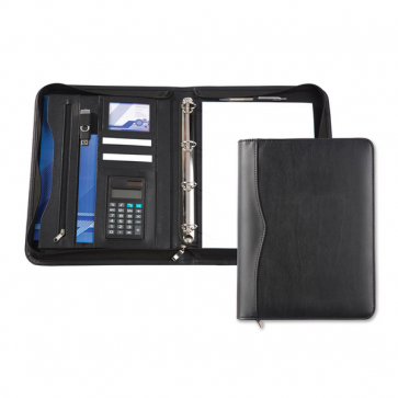 Black Houghton A4 Deluxe Zipped Ring Binder And Calculator
