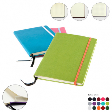 A5 Casebound Notebook with Edge Stitch Emboss, Elastic Strap, Envelope Pocket & Pen Loop