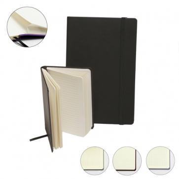 Environmentally Friendly Recycled Leather A5 Casebound Notebook with Elastic Strap and Envelope Pocket