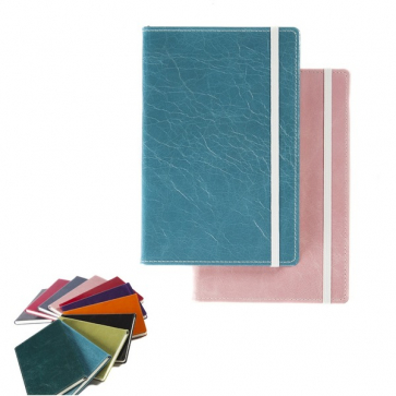 Kensington Distressed Nappa Leather A5 Casebound Notebook with Elastic Strap and Envelope Pocket
