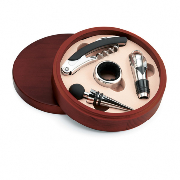 New Castel Wine Set In Wooden Box