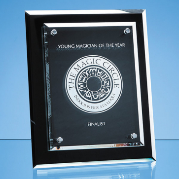Onyx Black Desk Plaque with Mounted Clear Rectangle, H or V