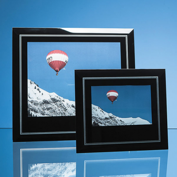 Black Surround with Silver Inlay Glass Frame for Landscape Photo