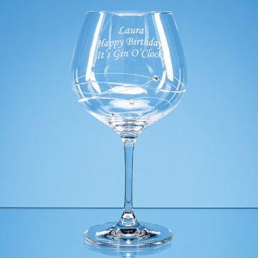 Single Diamante Gin Glass with Spiral Design Cutting