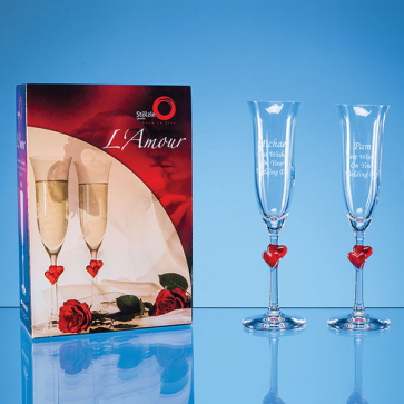 2 L'Amour Red Heart Champagne Flutes in an attractive Gift Box