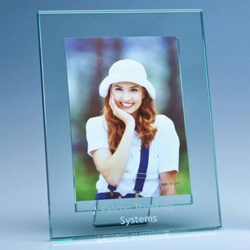 "Jade Glass Photo Frame for 5"" x 7"" Photo, V"