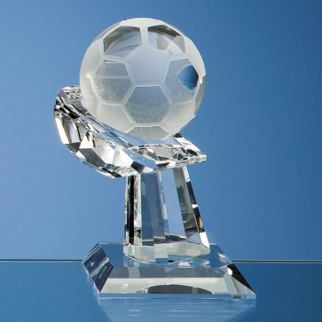 Optical Crystal Football on Mounted Hand Award
