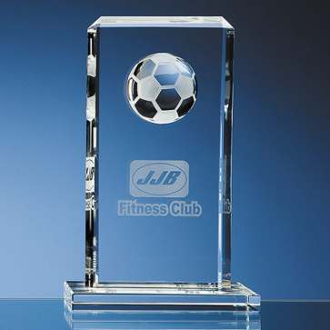 Mounted Optical Crystal Football Rectangle Award