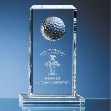 Mounted Optical Crystal Golf Ball Rectangle Award
