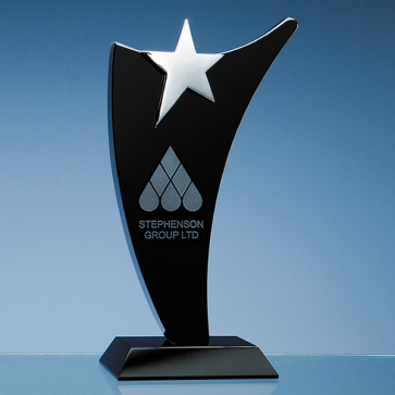 Onyx Black Optic Swoop Award with Silver Star
