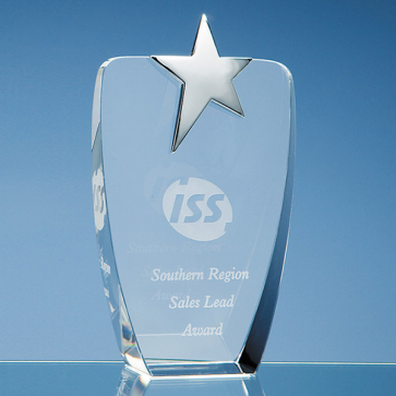 Optical Crystal Oval Award with Silver Star