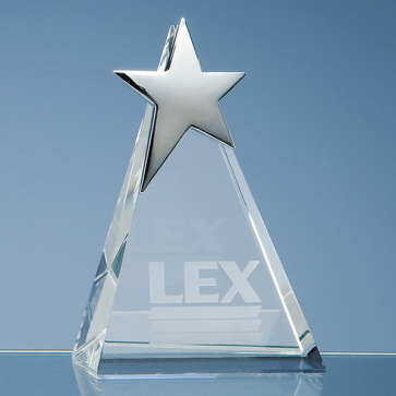Optical Crystal Triangle Award with Silver Star