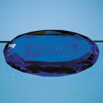 Sapphire Blue Optic Oval Facet Paperweight