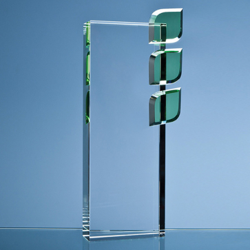 Optical Crystal 'Eco Excellence' Award with Triple Green Leafs