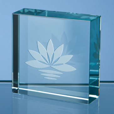 Jade Glass Square Paperweight