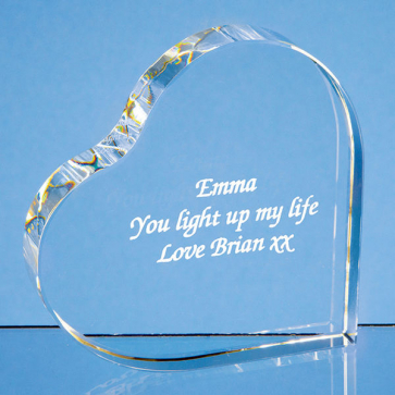 Optical Crystal Stand Up Heart