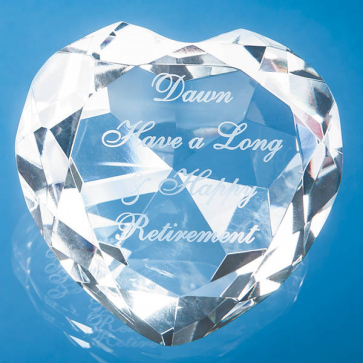 Optical Crystal Clear Facet Heart Paperweight