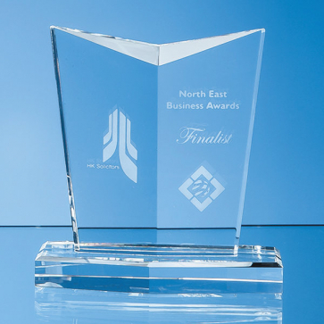 Optical Crystal Facetted Shield Award