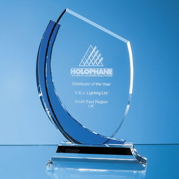 Optical Crystal Slope Award with Sapphire Blue Curve