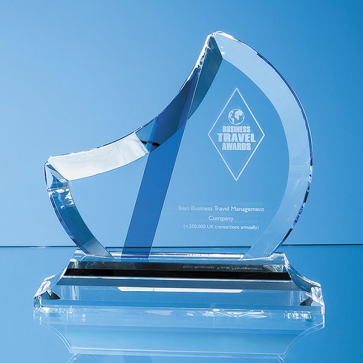 Optical Crystal Eclipse Award with Sapphire Blue Flash