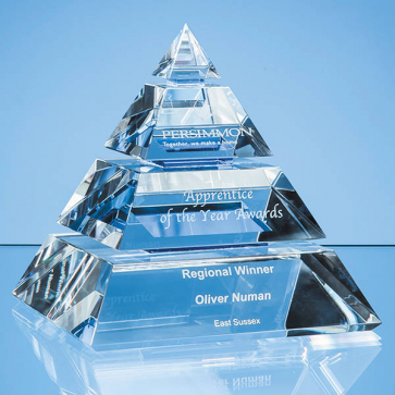 Clear Optical Crystal Luxor Pyramid Award with 3 Cobalt Blue Lines