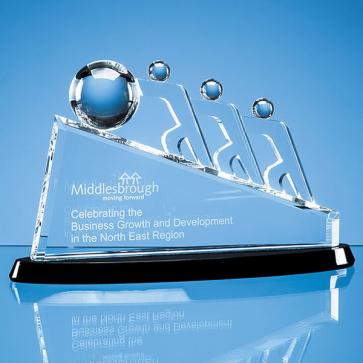 Optical Crystal Slope Teamwork Award Mounted on an Onyx Black Crystal Base