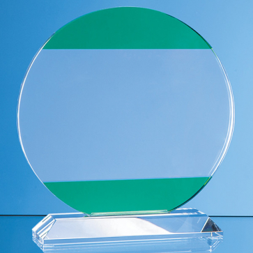 Clear & Light Emerald Green Optical Crystal Circle Award