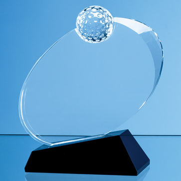 Optical Crystal Golf Ball Award Mounted on an Onyx Black Base