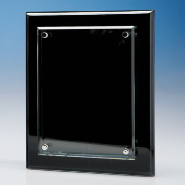 Clear Rectangle mounted on a Black Wood Plaque