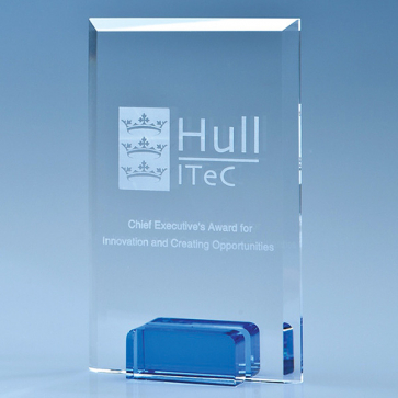 Optical Crystal Rectangle with a Cobalt Blue Base