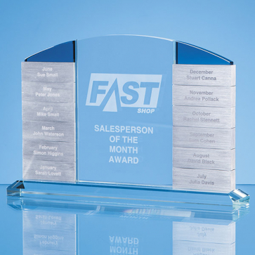 Clear Glass 'Monthly' Arch Award with 12 x Winners Plaques