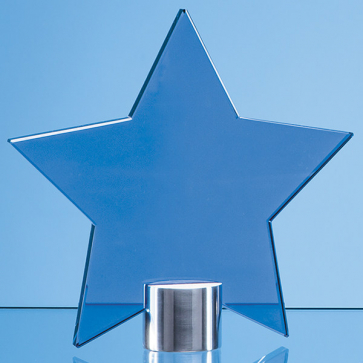 Cobalt Blue Glass Star Mounted on a Brushed Aluminium Base