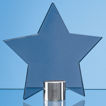 Smoked Glass Star Mounted on a Brushed Aluminium Base