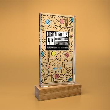 Standard Shaped Acrylic Awards With Wood Base