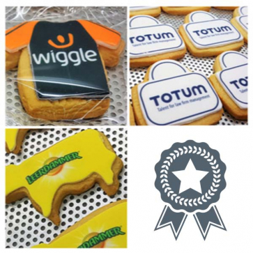 8cm x 8cm Bespoke Iced Logo Shaped Biscuit