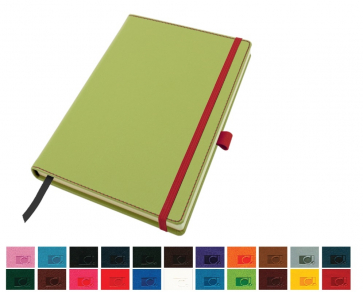 Accent A5 Notebook with a Belluno Soft Touch Cover with  Elastic Pen Loop