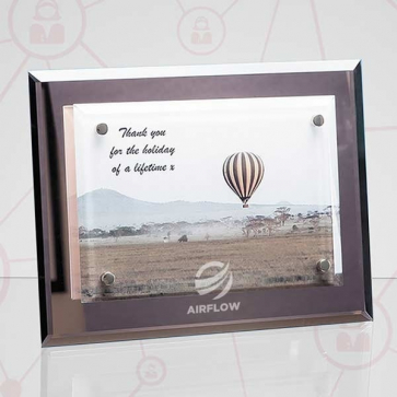 Mirrored Desk Plaque with Mounted Clear Rectangle, H or V