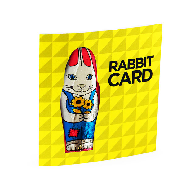 A card with a chocolate rabbit attached - a convenient promotional Easter gift
